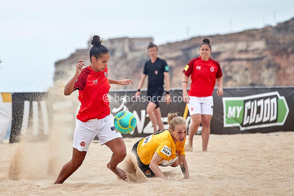 NAZARE, PORTUGAL - JUNE 6: Melissa Gomes of Stade de Reims and Joanna Vega of Fundacio Terrasa during the Euro Winners Cup Nazaré 2019 at Nazaré Beach on June 6, 2019 in Nazaré, Portugal. (Photo by Jose M. Alvarez)