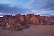 Mountains at dusk in Wadi Rum, Jordan.