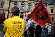 Demonstration against the planned US military radar base in Czech Republic on the day of Barack Obamas arrivel to Prague. Protestors of the Czech Communist organisation (KSCM).