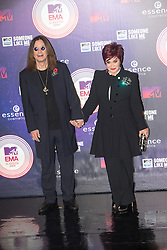 Ozzy Osbourne and Sharon Osbourne.<br /> Red carpet at the MTV EMA, Glasgow.