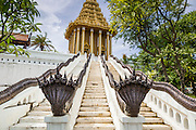 "16 JULY 2014 - SAMUT PRAKAN, SAMUT PRAKAN, THAILAND: A replica of the ""mondop"" a Buddhist chapel that houses a footprint of the Buddha in Saraburi, at Ancient Siam. Ancient Siam is a historic park about 200 acres (81 hectares) in size in the city of Samut Prakan, province of Samut Prakan, about 90 minutes from Bangkok. It features historic recreations of important Thai landmarks and is shaped roughly like the country of Thailand.      PHOTO BY JACK KURTZ"