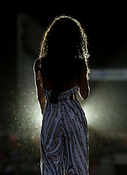 Vick Hope on stage during Capital's Summertime Ball. The world's biggest stars perform live for 80,000 Capital listeners at Wembley Stadium at the UK's biggest summer party.