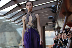"Model during the Jessica Minh Anh's ""Catwalk On Water"" Winter Fashion Show 2017 held on Bateaux Mouches' Le Jean Bruel on The Seine River in Paris on Thursday January 26, 2017"