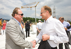 Ivan Zidar of SCT and Janez Skrabec at  open door day 1 year before opening of new football stadium and sports hall in Stozice,  on June 30, 2009, at Stadium Stozice, Ljubljana, Slovenia. (Photo by Vid Ponikvar / Sportida)