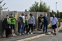 Football - 2020 / 2021 EFL League Two - Forest Green Rovers vs Bradford City<br /> <br /> Forest Green Rovers fans waiting to gain admittance as the test pilot allows up to 1000 fans into the ground, at the New Lawn Stadium<br /> <br /> COLORSPORT/ASHLEY WESTERN
