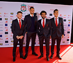 LIVERPOOL, ENGLAND - Thursday, May 10, 2018: Liverpool's Alberto Moreno, Dejan Lovren, Mohamed Salah and Roberto Firmino arrive on the red carpet for the Liverpool FC Players' Awards 2018 at Anfield. (Pic by David Rawcliffe/Propaganda)