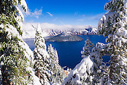 Crater Lake and Wizard Island in winter, Crater Lake National Park, Oregon USA