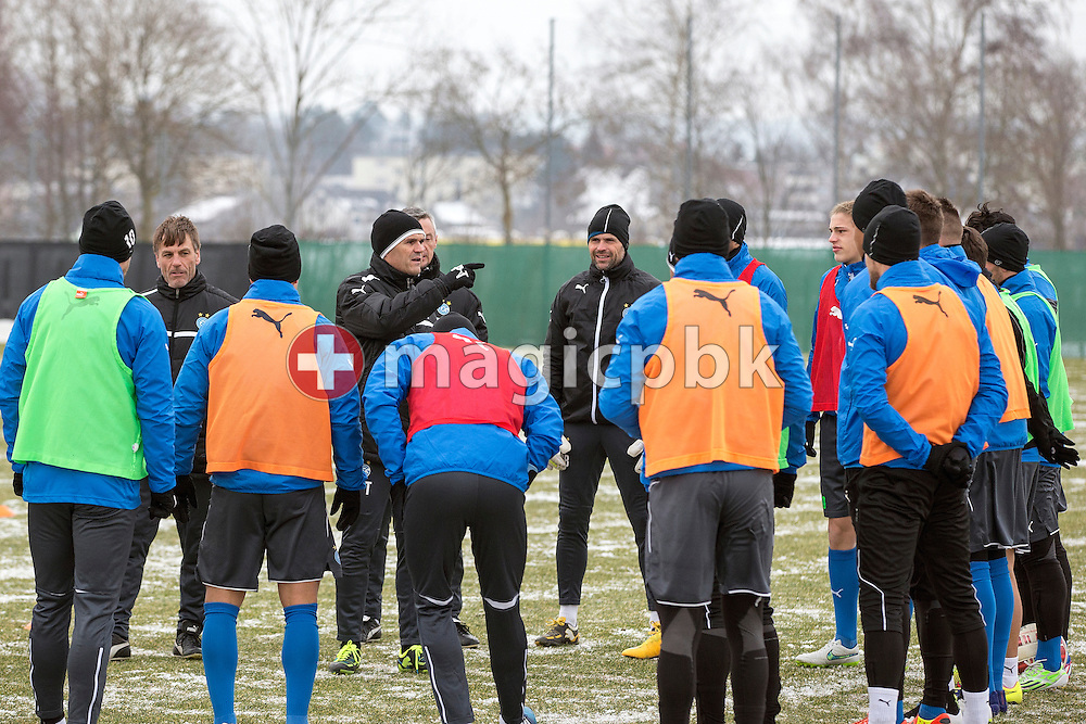 Head coach Pierluigi Tami (C) leads a training session of Super League (National League A) soccer team Grasshopper Club Zuerich (GCZ) held at the GC Campus in Niederhalsi, Switzerland, Friday, Feb. 6, 2015. (Photo by Patrick B. Kraemer / MAGICPBK)