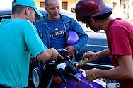 Gassing up a motorcycle in Vinales, Pinar del Rio, Cuba.