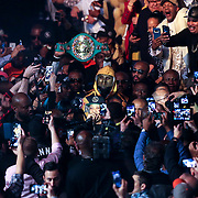 Deontay Wilder is seen as he walks to the ring to face Luis Ortiz during the WBC Heavyweight Championship boxing match at Barclays Center on Saturday, March 3, 2018 in Brooklyn, New York. Wilder would win the bout by knockout in the tenth round to retain the title and move to 40-0. (Alex Menendez via AP)