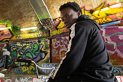 Trizzy, 16. Bikestormz is the brainchild of leader Mac Ferrari, a group of young trick cyclists who are encouraged to put knives down and enjoy the healthy, positive side of urban youth culture by joining together  and developing their cycling skills. . London, September 27 2019.