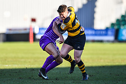 Newport's Matt O'Brien evades the tackle of Ebbw Vale's Stefan Thomas - Mandatory by-line: Craig Thomas/Replay images - 04/02/2018 - RUGBY - Rodney Parade - Newport, Wales - Newport v Ebbw Vale - Principality Premiership
