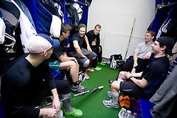 Greg Kuznik, Mitja Sivic, Bostjan Groznik, Ales Music, Jakob Milovanovic at first practice of Slovenian National Ice hockey team before World championship of Division I - group B in Ljubljana, on April 5, 2010, in Hala Tivoli, Ljubljana, Slovenia.  (Photo by Vid Ponikvar / Sportida)