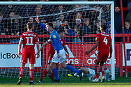 Portsmouth forward Oliver Hawkins (9) scores a goal to make the score 0-1 during the EFL Sky Bet League 1 match between Accrington Stanley and Portsmouth at the Fraser Eagle Stadium, Accrington, England on 27 October 2018.