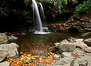 Great Smoky Mountains NP, Tennessee.<br /> The Trillium Gap Trail intersects Roaring Fork Brook. After ducking into an alcove behind the falls, the trail can be continued to Mount LeCont.