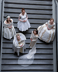 Pictured: Leah Bradbury models a design from 1610 along with models wearing designs from the 1600's to the 1950's as part of a preview of designs inspired by the wedding scene from Shakespeare's As You Like It at Edinburgh College of Art.<br /> <br /> © Dave Johnston / EEm
