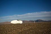 David Verbroekken in de Cygnus Beta. De tweede racedag van het WHPSC In de buurt van Battle Mountain, Nevada, strijden van 10 tot en met 15 september 2012 verschillende teams om het wereldrecord fietsen tijdens de World Human Powered Speed Challenge. Het huidige record is 133 km/h.<br /> <br /> David Verbroekken is on his way in the Cygnus Beta on the second day of the WHPSC. Near Battle Mountain, Nevada, several teams are trying to set a new world record cycling at the World Human Powered Speed Challenge from Sept. 10th till Sept. 15th. The current record is 133 km/h.