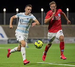 Sebastian Czajkowski (FC Helsingør) og Anders Hagelskjær (Silkeborg IF) under kampen i 1. Division mellem FC Helsingør og Silkeborg IF den 11. september 2020 på Helsingør Stadion (Foto: Claus Birch).