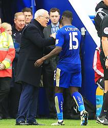 Leicester City Manager Claudio Ranieri congratulates Jeffrey Schlupp  - Mandatory by-line: Matt McNulty/JMP - 24/04/2016 - FOOTBALL - King Power Stadium - Leicester, England - Leicester City v Swansea City - Barclays Premier League
