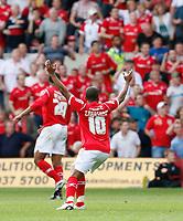Photo: Steve Bond/Richard Lane Photography.<br />Nottingham Forest v Watford. Coca-Cola Football League Championship. 23/08/2008. Rob Earnshaw watches Nathan Tyson convert his free kick