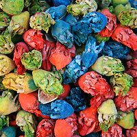 North Africa, Africa, Morocco, Marrakesh. Colorful dried flowers in the souks of Marrakesh.