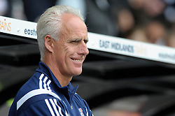 Ipswich Town Manager, Mick McCarthy smiles as he looks on - Photo mandatory by-line: Dougie Allward/JMP - Mobile: 07966 386802 30/08/2014 - SPORT - FOOTBALL - Derby - iPro Stadium - Derby County v Ipswich Town - Sky Bet Championship