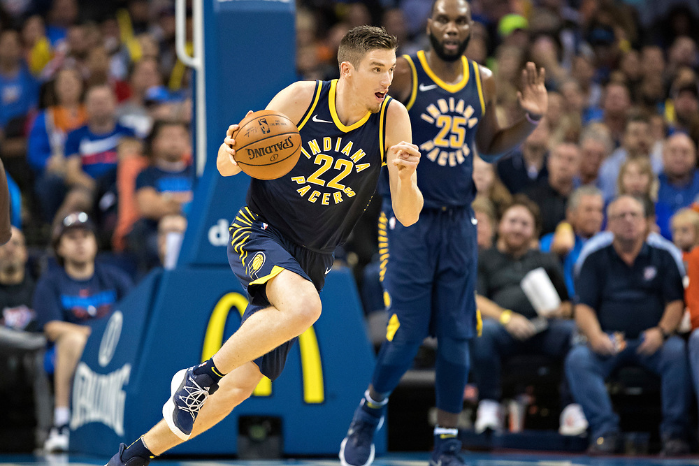 OKLAHOMA CITY, OK - OCTOBER 25:  TJ Leaf #22 of the Indiana Pacers drives down the court during a game against the Oklahoma City Thunder at the Chesapeake Energy Arena on October 25, 2017 in Oklahoma City, Oklahoma.  NOTE TO USER: User expressly acknowledges and agrees that, by downloading and or using this photograph, User is consenting to the terms and conditions of the Getty Images License Agreement.  The Thunder defeated the Pacers 114-96.  (Photo by Wesley Hitt/Getty Images) *** Local Caption *** TJ Leaf