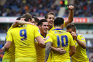 Alex Mowatt of Leeds united (10) celebrates with his teammates after scoring his teams 3rd goal. Skybet football league Championship match, Huddersfield Town v Leeds United at the John Smith's Stadium in Huddersfield, Yorks on Saturday 7th November 2015.<br /> pic by Chris Stading, Andrew Orchard sports photography.