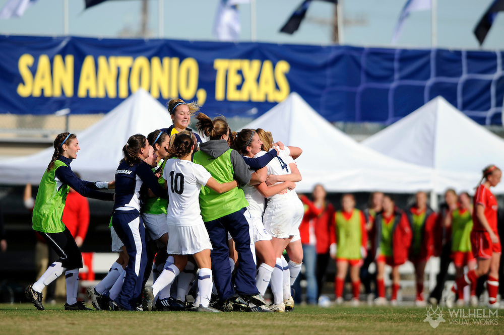 05 DEC 2009:  Messiah College celebrates their victory over Washington University in St. Louis during the Division III Women's Soccer Championship held at Blossom Soccer Stadium hosted by Trinity University in San Antonio, TX.  Messiah defeated Washington 1-0 for the national title.  © Brett Wilhelm