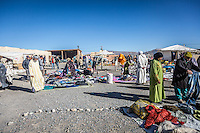 Local market in a small village east of the Atlas mountains on the road from Midelt to Erfoud, Morocco.