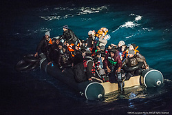 """9th of Jan 2016..Dramatic rescues as refugee deaths in Aegean reach record high..MOAS team make a sighting of a large rubber dinghy with 48 people onboard ( 8 males, 16 females and 14 children). The boat is in distress in the heavy swell. Three men are then spotted in sea by the MOAS searchlight. The men looking exhausted are encouraged to swim and grasp hold of the Jacobs ladder hanging on the side of the MOAS Rescue ship, Responder. With rescues swimmers at the ready, the men are pulled to safety. The men had fallen from the dinghy and could not climb back due to the high seas and their boat being already so overcrowded. Their rubber boat with their family members aboard was then safely brought alongside the Responder and all remaining 45 people, mainly Syrians were brought on deck, exhausted..ATHAGONISI - Search and rescue charity Migrant Offshore Aid Station (MOAS) has assisted hundreds of refugees from hostile seas between Turkey and Greece since it began operating in the region just before Christmas.. .The MOAS crew has witnessed shocking scenes of life and death, having led complex deep water and nearshore rescues over the past four weeks. The human toll has been described as """"distressing"""" and """"desperate"""" by reporters who have been embedded with MOAS.. .MOAS, which saved almost 12,000 refugees from the Mediterranean Sea since 2014, expanded its operations to the Aegean Sea thanks to thousands of donations that reached the organisation after the horrific death of Alan Kurdi, a Syrian toddler who was photographed washed ashore on a Turkish beach last September.. .The charity is operating off the Greek island of Agathonisi from a 51-metre vessel equipped with two fast rescue launches named after Alan and his brother Galip, who also died in September's shipwreck.. .According to the International Organisation for Migration (IOM), 2016 appears to be a record year for both refugee arrivals and deaths at sea. In the first three weeks, f"""