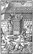Blast furnace for smelting iron ore. From Agricola 'De re Metallica', Basle, 1556. Woodcut