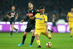 December 1, 2017 - Naples, Italy - Jorginho of Napoli and Paulo Dybala of Juventus during the Serie A match between SSC Napoli and Juventus at Stadio San Paolo on December 1, 2017 in Naples, Italy. (Credit Image: © Matteo Ciambelli/NurPhoto via ZUMA Press)