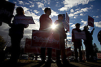 CHESHIRE, CT - 02 NOVEMBER 2010 -.U. S. Rep. Chris Murphy (D-5th) supporters gather in front of Cheshire High School during voting hours on Tuesday morning to greet Murphy as he arrived to vote at the school. Murphy is challenged by Conn. Sen. Sam Caligiuri (R-16th)..Photo by Josalee Thrift