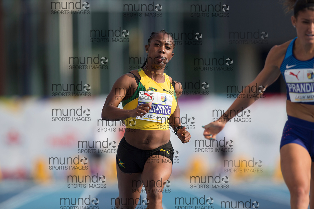 Toronto, ON -- 11 August 2018: Shelly-Ann Fraser-Pryce (Jamaica -- fifth), 100m final at the 2018 North America, Central America, and Caribbean Athletics Association (NACAC) Track and Field Championships held at Varsity Stadium, Toronto, Canada. (Photo by Sean Burges / Mundo Sport Images).
