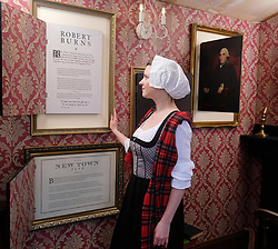 "Moments In Time Exhibition, Friday 31st March 2017<br />  <br /> Edinburgh International Science Festival exhibition ""Moments In Time"" features four Scottish police boxes, each focusing on a key moment: the Enlightenment, the industrial revolution, the information age and 101 Scottish inventions. <br /> <br /> Curator Dr Sarah Thomas poses as 18th-century poet and socialite Alison Cockburn with Border Collie ""Bullet"" in the Enlightenment box. <br /> <br /> (c) Alex Todd 