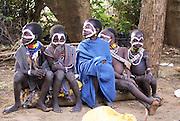 Africa, Ethiopia, Omo Valley, Karo tribesmen