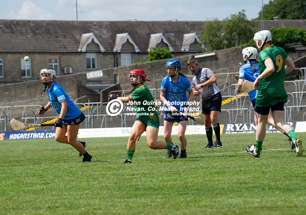 25-07-21. Meath v Dublin All-Ireland Intermediate Camogie Championship (Group 1) at Pairc Tailteann, Navan.<br /> Sophia Payne, Meath passing the ball against Dublin in the All-Ireland Intermediate Camogie Championship.<br /> Photo: John Quirke / www.quirke.ie<br /> ©John Quirke Photography, 16 Proudstown Road, Navan. Co. Meath. (info@quirke.ie / 046-9028461 / 087-2579454).