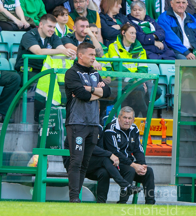 Hibernian's manager Paul Heckingbottom. Hibernian 2 v 0 Alloa Athletic, Betfred Cup game played Saturday 20th July at Easter Road, Edinburgh.