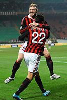 """Marco BORRIELLO Milan celebrates his first goal with David BECKHAM<br /> Esultanza dopo il primo gol<br /> Milano 6/1/2010 Stadio """"Giuseppe Meazza""""<br /> Milan - Genoa 5-2<br /> Campionato Italiano Serie A 2009/2010<br /> Foto Andrea Staccioli Insidefoto"""