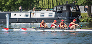 Henley. Berks, United Kingdom. <br /> <br /> W4-, Ohio Stae University Women's Coxless Four competing at the 2017 Henley' Women's Regatta. Rowing on, Henley Reach. River Thames. <br /> <br /> <br /> Sunday  18/06/2017<br /> <br /> <br /> [Mandatory Credit Peter SPURRIER/Intersport Images]