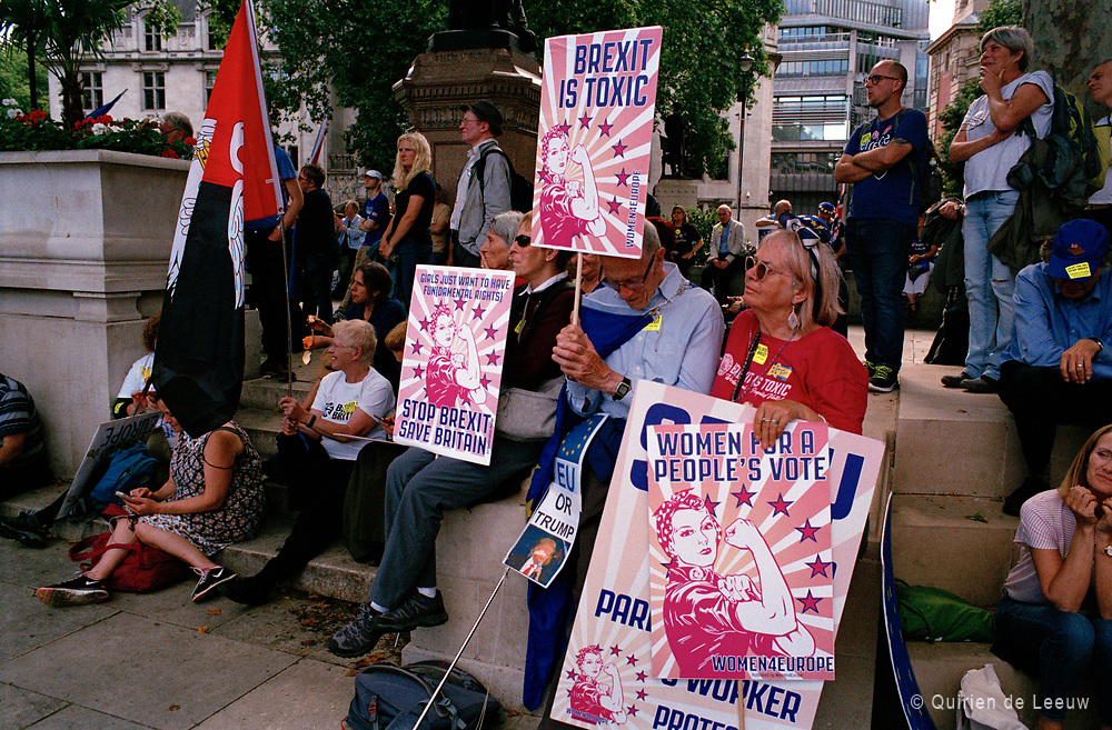 Brexit demonstratie op Parliament Square in Londen.