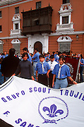 PERU, TRUJILLO, FESTIVALS scouts in parade on Plaza de Armas