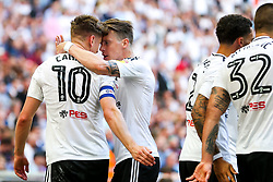 Free to use courtesy of Sky Bet. Tom Cairney of Fulham celebrates with Stefan Johansen after scoreing a goal to make it 0-1 - Rogan/JMP - 26/05/2018 - FOOTBALL - Wembley Stadium - London, England - Aston Villa v Fulham - Sky Bet Championship Play-Off Final.