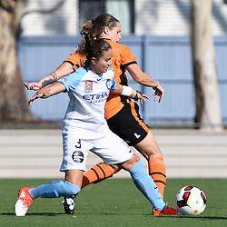 BRISBANE, AUSTRALIA - DECEMBER 4: Lauren Barnes of the City competes with Maddy Evans of the Roar during the round 5 Westfield W-League match between the Brisbane Roar and Melbourne City at AJ Kelly Field on December 4, 2016 in Brisbane, Australia. (Photo by Patrick Kearney/Brisbane Roar)