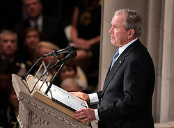 Former United States President George W. Bush speaks at the funeral service for the late US Senator John S. McCain, III (Republican of Arizona) at the Washington National Cathedral in Washington, DC, USA on Saturday, September 1, 2018. Photo by Ron Sachs/CNP/ABACAPRESS.COM