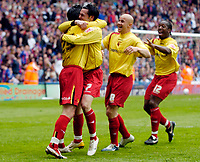 Photo: Daniel Hambury.<br />Crystal Palace v Watford. Coca Cola Championship. Play off Semi-Final, First Leg. 06/05/2006.<br />Watford's players celebrate with third goal scorer Matthew Spring (2nd, L).