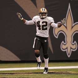 2008 October, 12: New Orleans Saints cornerback Jason David (42) celebrates after an interception in the second half against the Oakland Raiders at the Louisiana Superdome in New Orleans, LA.