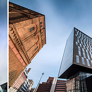 Creative architectural photography, using wide angle perspective to emphasise the structure of some architecture in Liverpool.