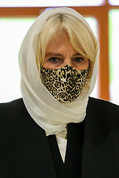 © Licensed to London News Pictures. 07/04/2021. London, UK. Camilla, Duchess of Cornwall, wearing a headscarf and a protective face covering during a visit to the London Islamic Cultural Society and Mosque (also known as Wightman Road Mosque) in Haringey, north London. The Mosque was formed by a small group of Guyanese Muslims and now supports over 30 different nationalities and community in Haringey and surrounding boroughs. Photo credit: Dinendra Haria/LNP